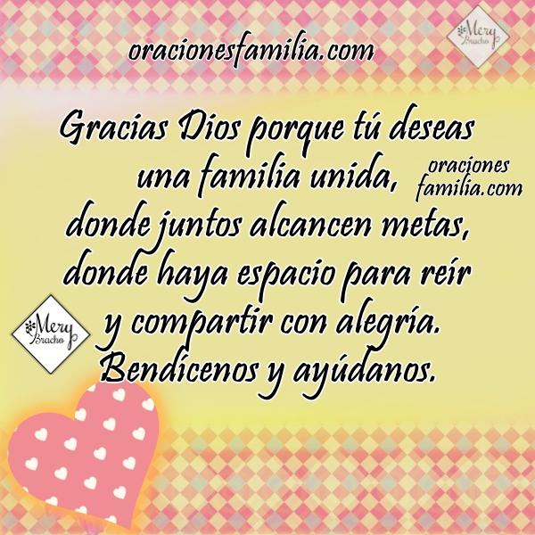 Bella oración corta por la familia unida imagen bonita cristiana por los hijos