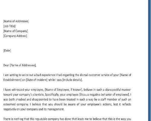 Sample Complaint Letter About Bad Customer Service