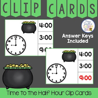 Time to the Hour and Half Hour Clip Cards St. Patrick's Day Themed