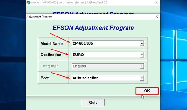 Reset Epson XP-605