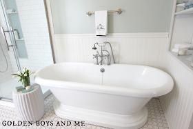 master bath with pedestal tub, sherwin williams sea salt, built ins -www.goldenboysandme.com