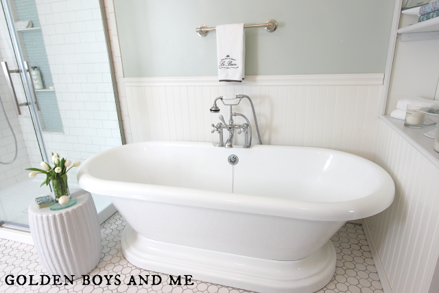 master bath with pedestal tub, sherwin williams sea salt, built ins -www.goldenboysandme.com