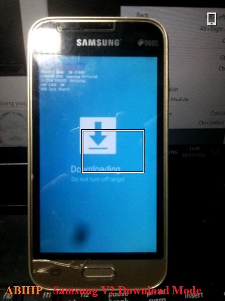 Sekarang Samsung v2 j106b sudah dalam keadaan download mode.