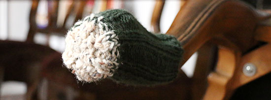Close-up of the newly knit bottom on a chair sock.