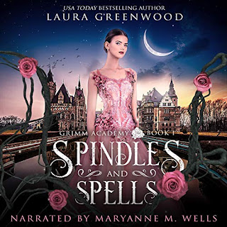 Girl in a pink ballgown stands in front of a castle, surrounded by roses and briars. Spindles and Spells audiobook writer Laura Greenwood narrator Maryanne Wells