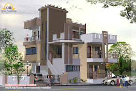 3 Story House Plan and Elevation view 1- 248 Sq M (2670 Sq. Ft.)