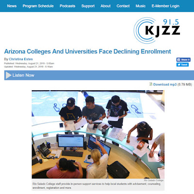 snapshot of KJZZ web page featuring story.  Image of students at Rio Salado headquarters.  Story headline: Arizona Colleges and Universities Face Declining Enrollment
