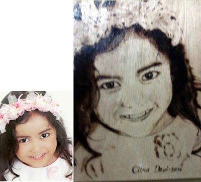 Lukisan wajah pirografi diatas plywood Devi Salsabila