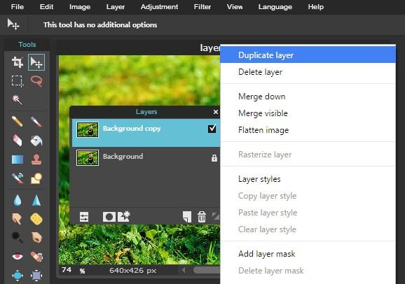 membuat duplicate layer pixlr