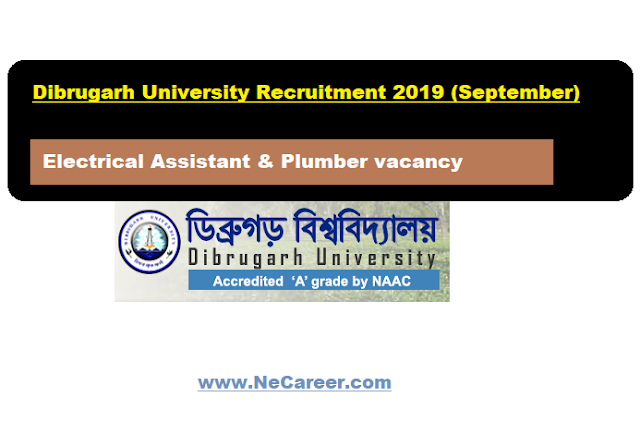 Dibrugarh University Recruitment 2019 (September) |  Electrical Assistant & Plumber vacancy
