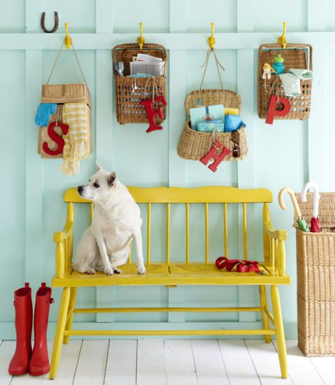 vintage baskets hung on the wall for organization