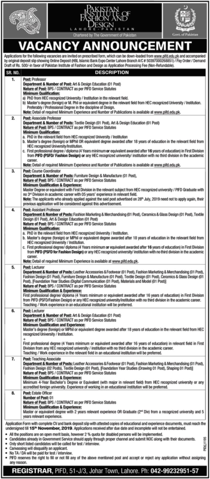 Pakistan Institute of Fashion and Design Lahore Jobs 2019