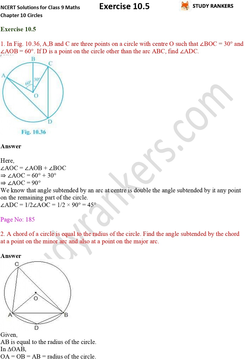 NCERT Solutions for Class 9 Maths Chapter 10 Circles Exercise 10.5 Part 1