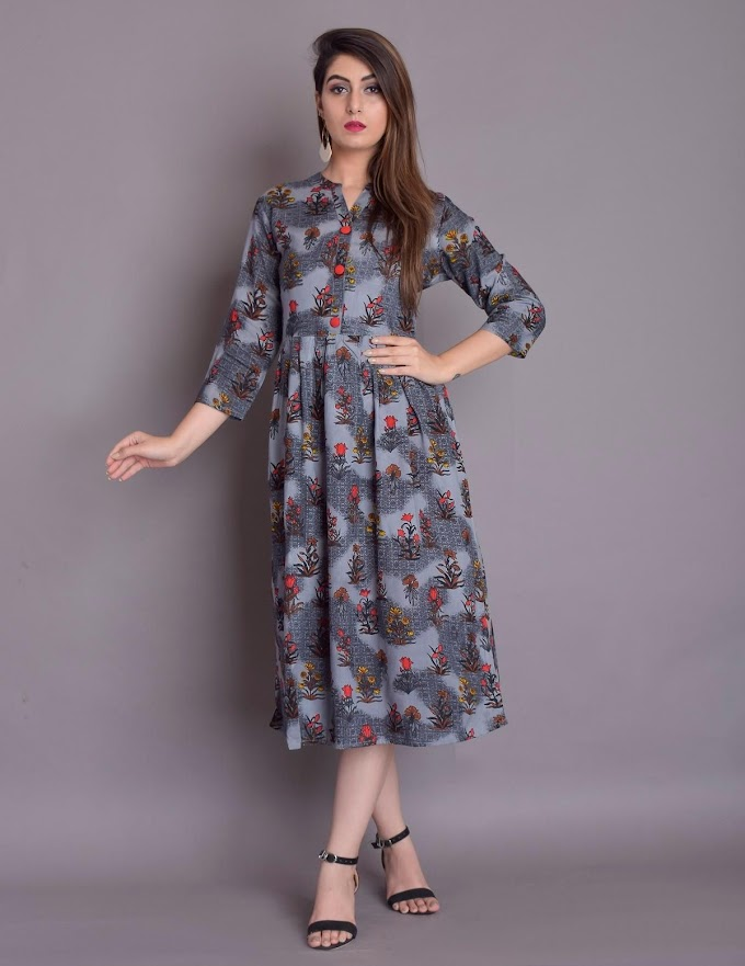Authentic Rayon Printed Calf Length Kurti