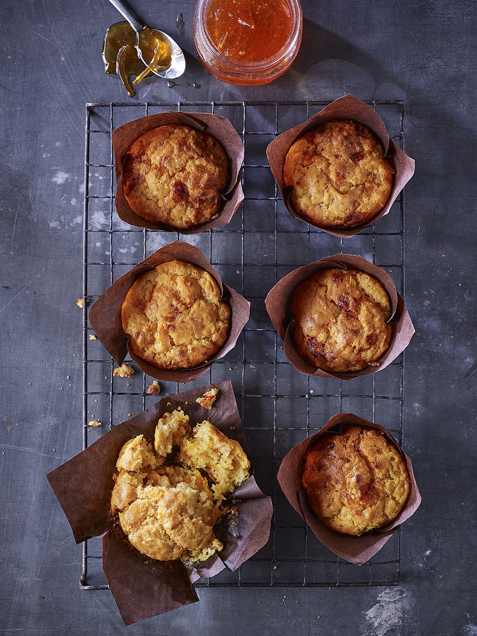 Seville Marmalade, Cheddar And Chilli Muffins