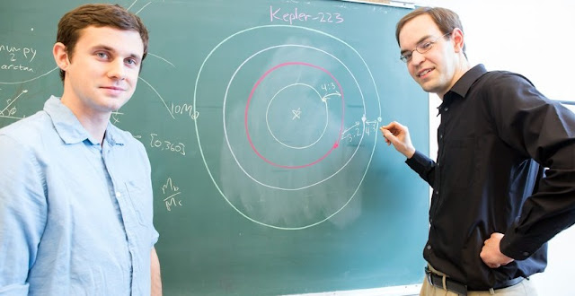 The University of Chicago's Sean Mills (left) and Daniel Fabrycky describe the complex orbital structure of the Kepler-223 expolanetary system in the May 11 early online edition of Nature.  Photo by Nancy Wong
