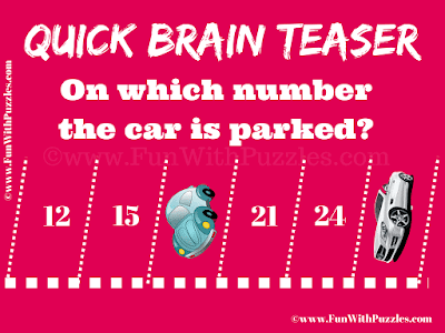 It is Quick Brain Teaser for Kids in which one find one which the given cars are parked