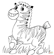 Cute Baby Zebra Coloring Sheet For Kids