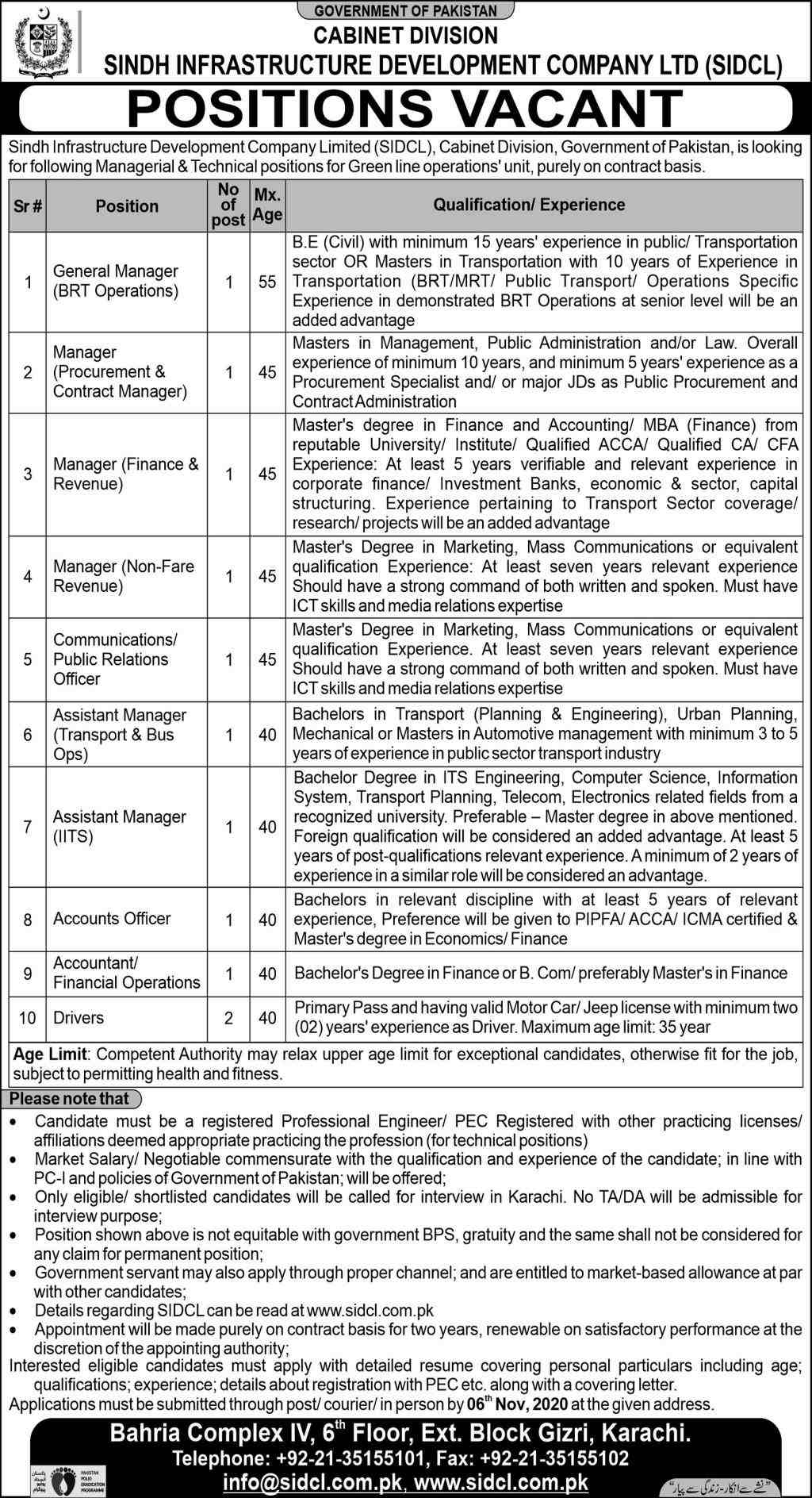 Cabinet Division SIDCL Jobs 2020 Sindh Infrastructure Development Company | Assistant Manager