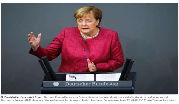 "Merkel praised the ""impressive"" nature of the protests in Belarus"