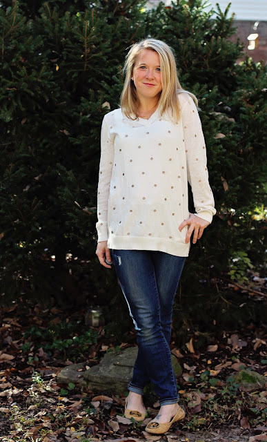 Renee C Bowler V-Neck Polka Dot Pullover Sweater