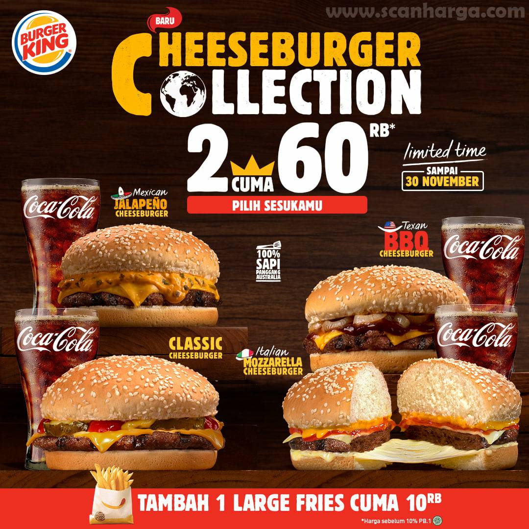 Burger King CHEESEBURGER COLLECTION Promo 5 Burger cuma Rp 100.000* hingga 30 november 2020