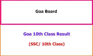 Goa SSC 10th Class Exam Results 2021