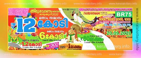 Kerala Lottery Thiruvonam Bumper 2020 BR 75 Results 20.09.2020-keralalottery.info