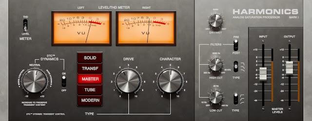 Interface do plugin Softube - Harmonics Analog Saturation Processor