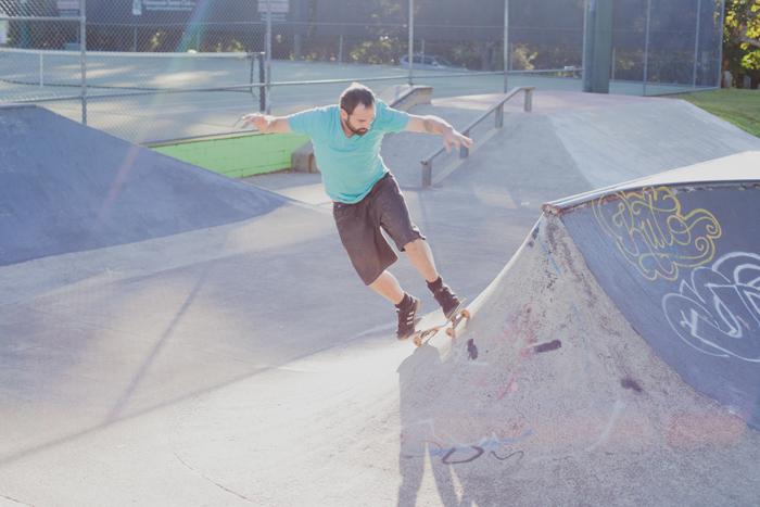 rainbow light leak skate park
