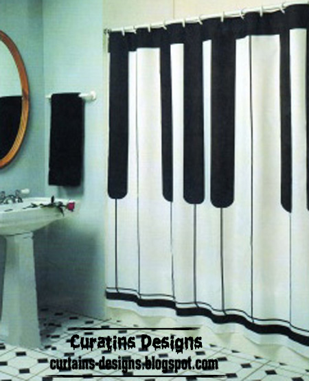 Piano shower curtain style, black and white shower curtain