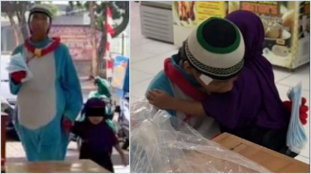 Viral Aksi Gadis Kecil Asisteni Kakak yang Kerja jadi Badut, Warganet Tak Tega