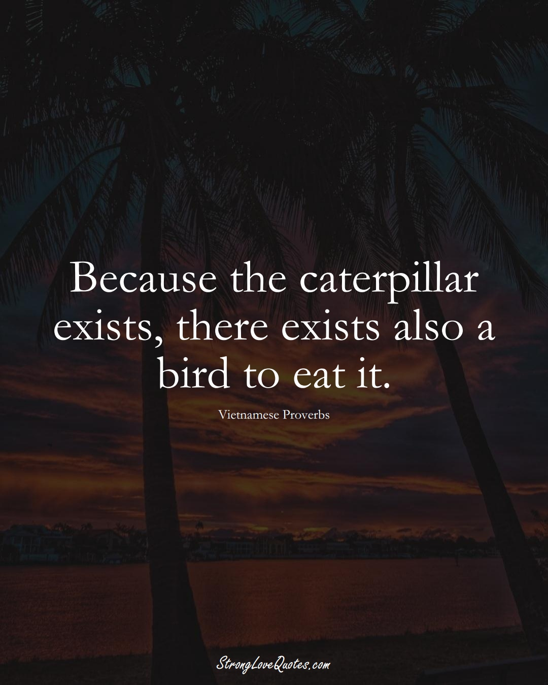Because the caterpillar exists, there exists also a bird to eat it. (Vietnamese Sayings);  #AsianSayings