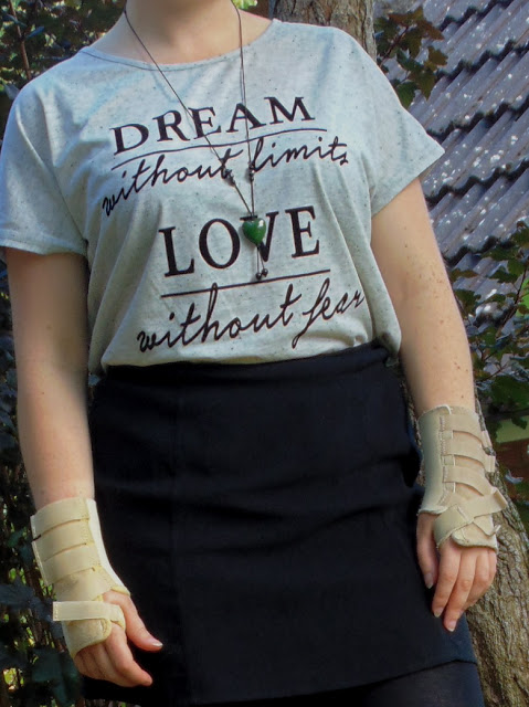 Dream without limits Love without fear slogan tee and green heart pendant