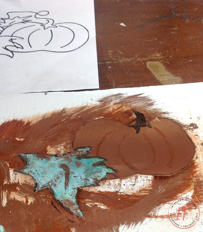Fall Pumpkin Sheet Metal Art With Oxidized Patina