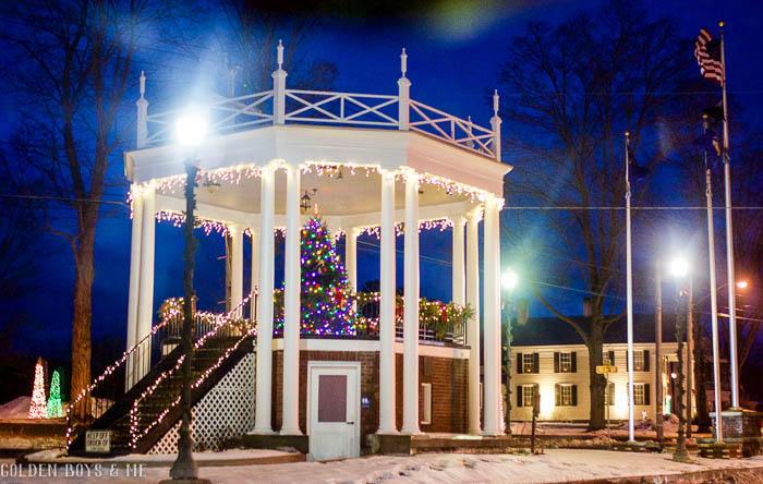 Warrensburg, NY gazebo decorated for Christmas