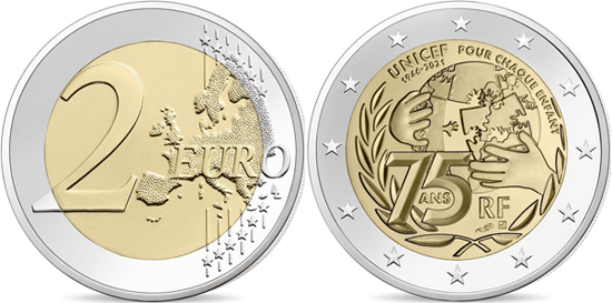 France 2 euro 2021 - 75th anniversary of UNICEF
