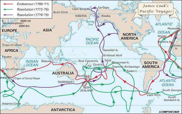 James Cook's Pasific voyages