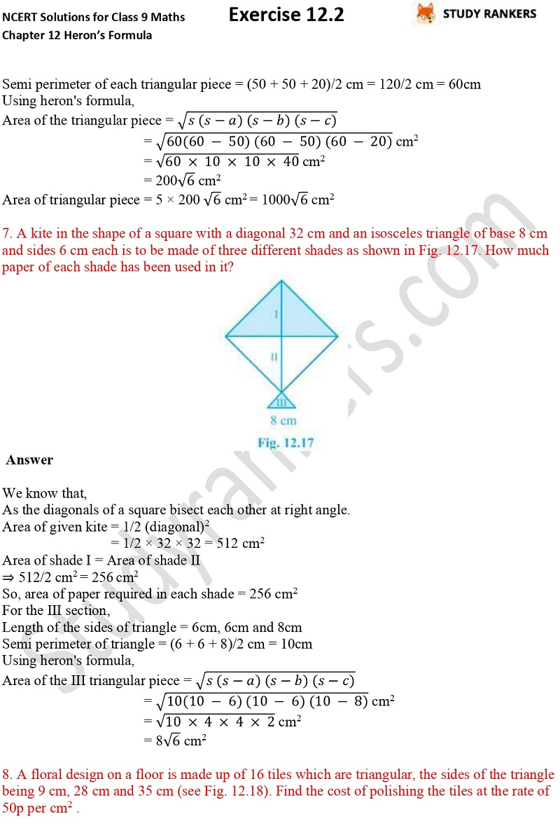 NCERT Solutions for Class 9 Maths Chapter 12 Heron's Formula Exercise 12.2 Part 5