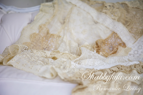 antique lace quilt made from scraps