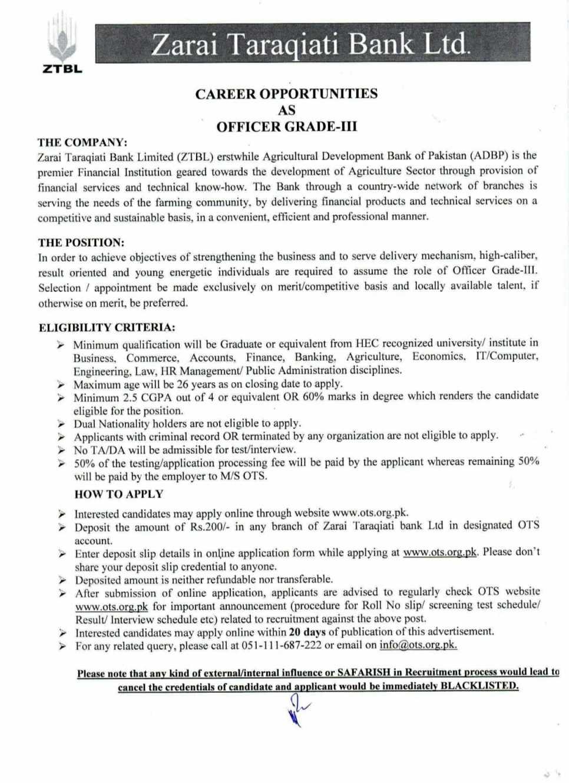 300 Seats in Zarai Taraqiati Bank Ltd as Officer Grade-III | OTS
