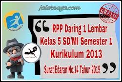 Download RPP Daring 1 Lembar Kelas 5 Semester 1 Revisi 2020