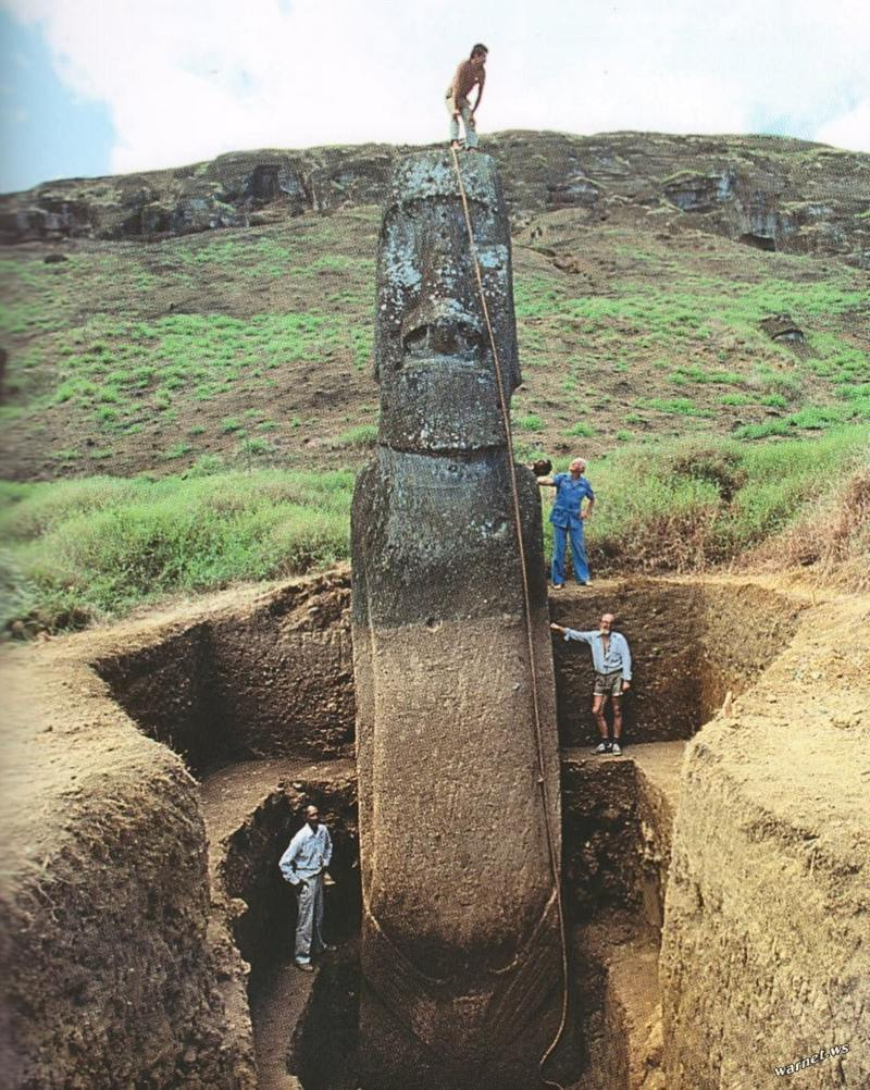 Photo of the underground part of the moai statue on Easter Island