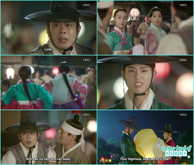 princess and her maid run when saw the crown prince atthe festival - Love in The Moonlight - Episode 5 Review