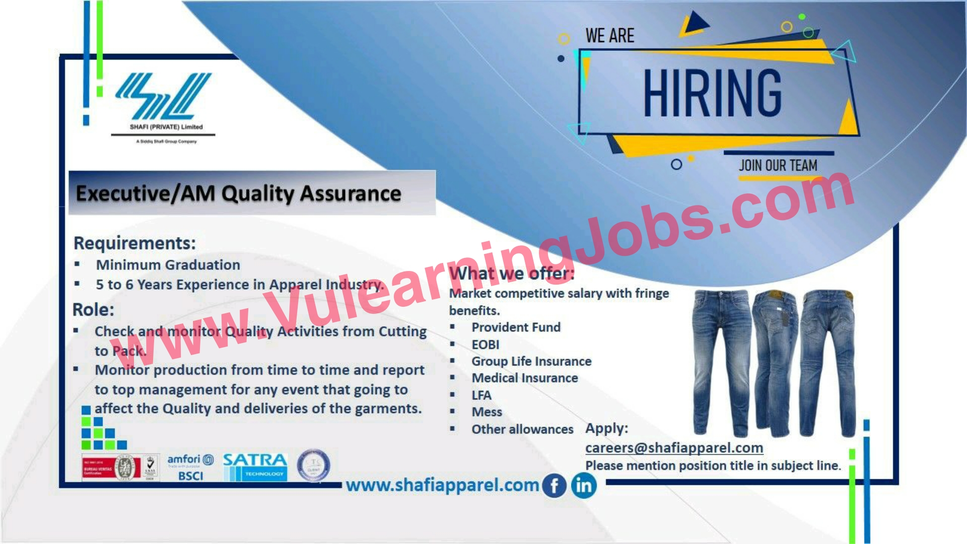 Shafi Private Limited (Shoe & Apparel) Jobs July 2021 Executive/AM Cutting, Executive AM Quality Assurance Latest