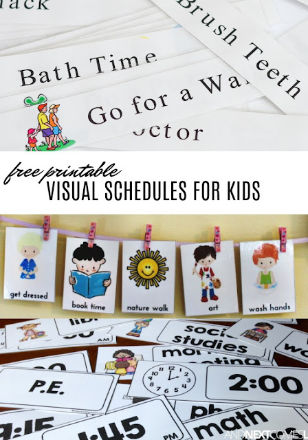 Free visual schedule printables to help kids with daily routines & transitions from And Next Comes L