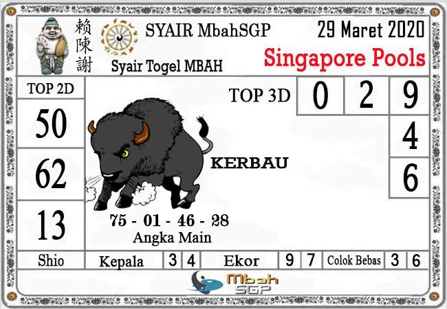 Prediksi Togel Singapura Minggu 29 Maret 2020 - Syair MbahSGP