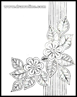 Beautiful flowers design drawings for hand embroidery sarees. Embroidery designs images free download.