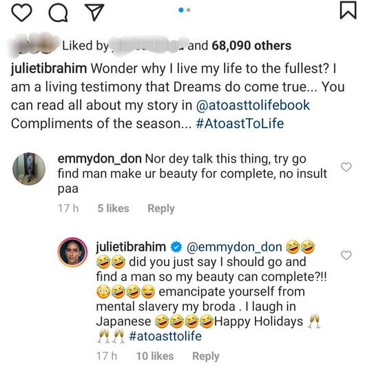 """""""Ghanian actress, Juliet Ibrahim Slams a Follower Who Told Her To Find A Man To Be Complete"""""""