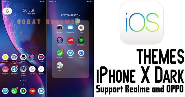 Download Tema iPhone X Dark for Realme dan OPPO - Sobat Realme